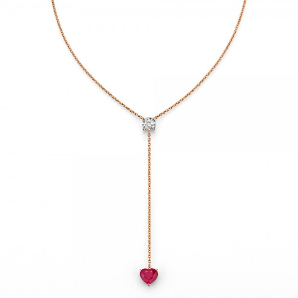 Meiller Color Y-Kette Rosegold, m. Diamant 0,50ct., Rubin 0,90ct
