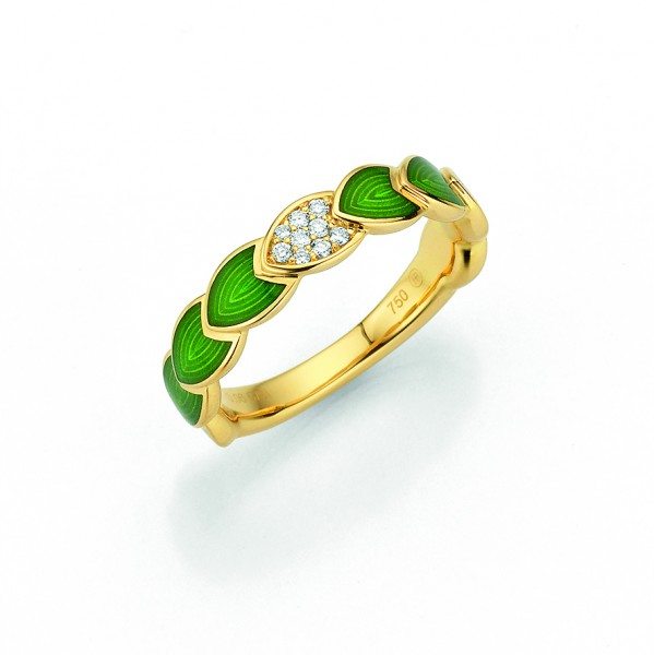 Rivoir Ring Gelbgold, apfelgrün, m. Brillanten 0,06ct