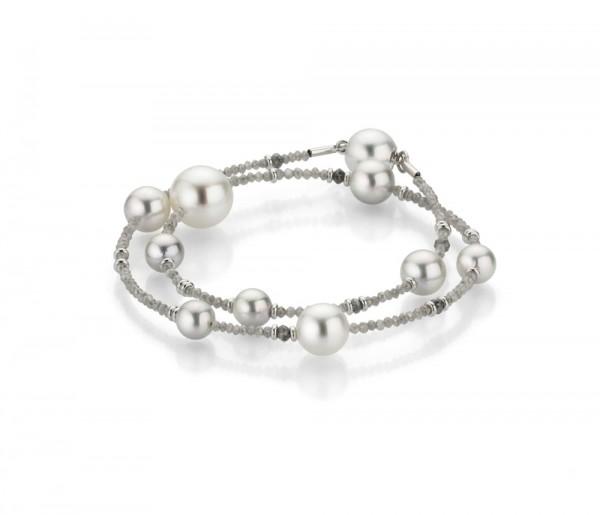 Gellner Castaway Armband m. Diamanten und Perlen, weiß/grau