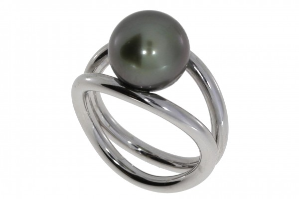 Pearl Style Wired XL Ring Tahiti-Zuchtperle, Silber