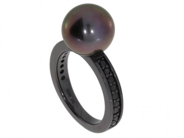 Gellner Urban Ring Silber geschwärzt, m. Tahitiperle