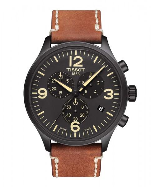 Tissot Chrono XL schwarz/braun Leder
