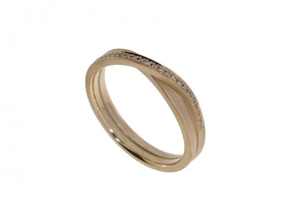 Oliver Schmidt Ring Endlosband 1,5mm 2-fach gewickelt Rosegold, m. Brillanten 0,07ct