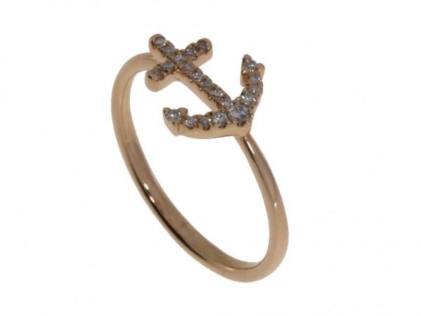 Crivelli Ring Anker Rosegold, m. Brillanten 0,10ct
