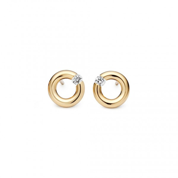 Niessing Spannring Ohrstecker Classic Yellow, 8mm, 0,10ct