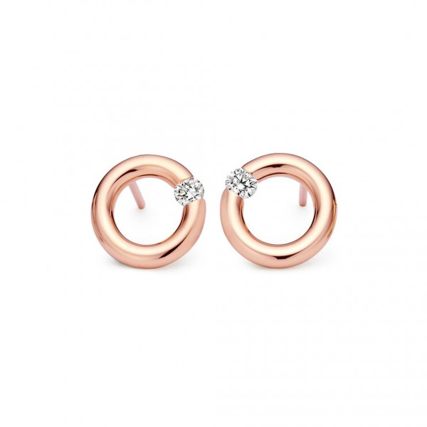 Niessing Spannring Ohrstecker Classic Red, 10mm, 0,16ct