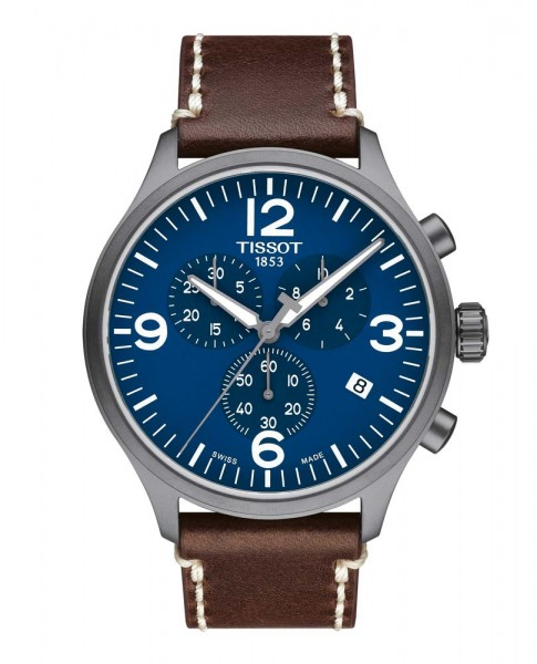 Tissot Chrono XL blau/braun Lederband