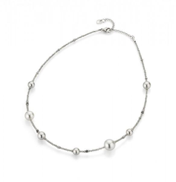 Gellner Castaway Collier m. Diamanten und Perlen, weiß/grau