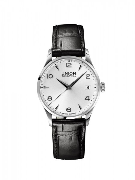 Union Glashütte Noramis Datum 34mm Weiß Lederarmband Schwarz