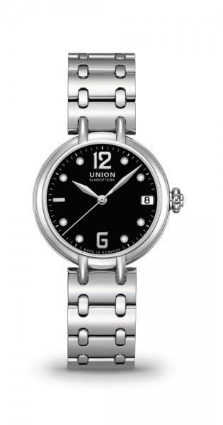 Union Glashütte Sirona Datum Schwarz Diamanten