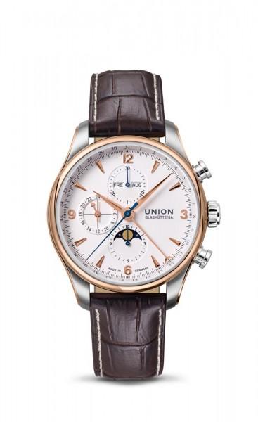 Union Glashütte Belisar Chronograph Mondphase Weiß/Rosé Goldlünette