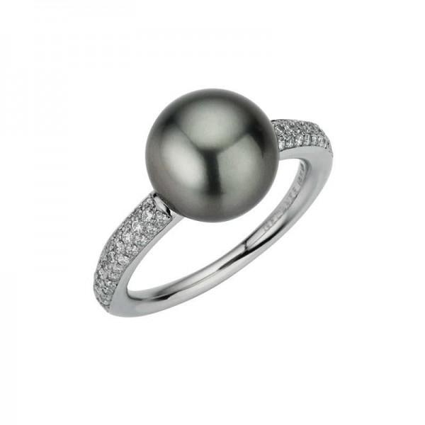 Gellner Modern Classic Ring Platin, m. Brillanten 0,386ct, Tahitiperle