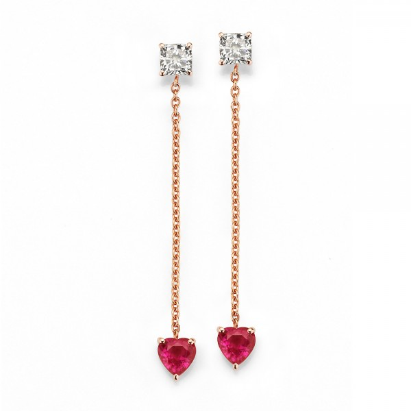 Meiller Color Ohrstecker Rosegold, m. Diamant 0,46ct, Rubin 1,88ct