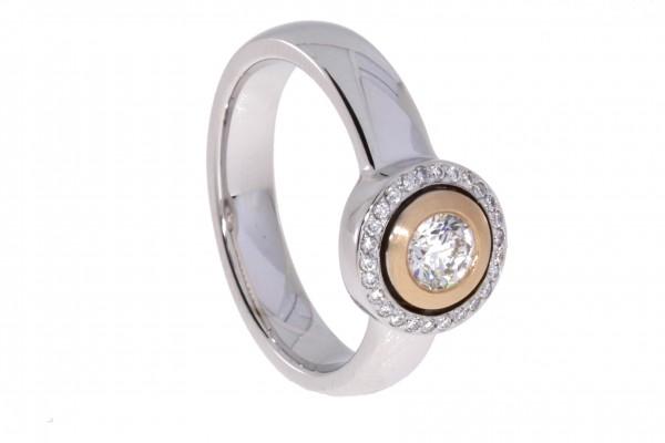 Dettinger Ring Rosé-, Weißgold, m. Brillanten 0,40ct