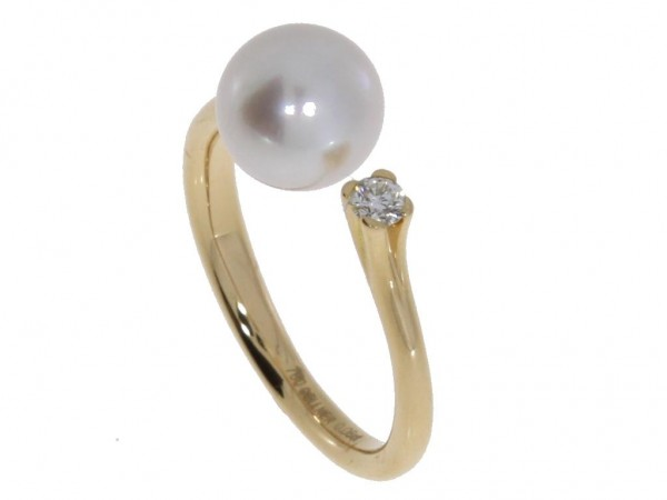 Gellner H2O Ring Rosegold, m. Brillant, m. Akoyaperle