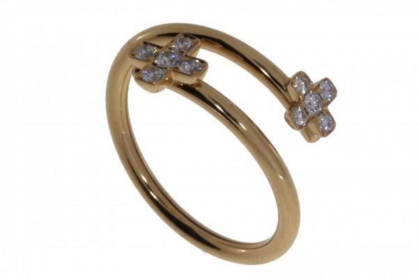 Crivelli Ring Kreuz Rosegold, m. Brillanten 0,22ct