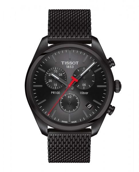 Tissot PR 100 Quarz Chrono Milanaiseband schwarz