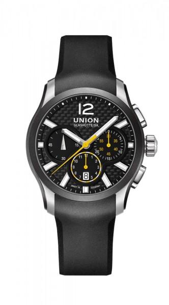 Union Glashütte Belisar Chronograph Schwarz/Gelb Kautschukband