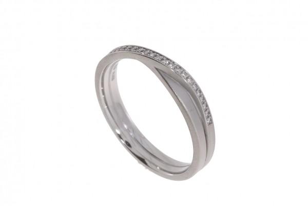 Oliver Schmidt Ring Endlosband 1,5mm 2-fach gewickelt Platin, m. Brillanten 0,07ct