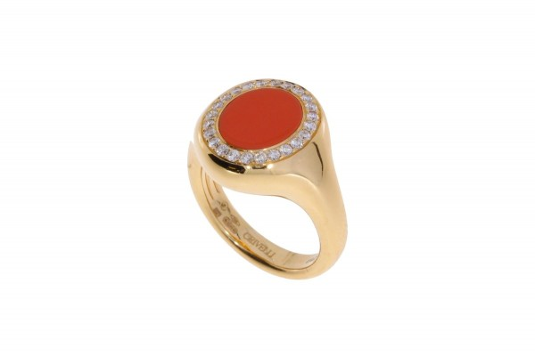 Crivelli Ring Rosegold, Koralle, m. Brillanten 0,23ct