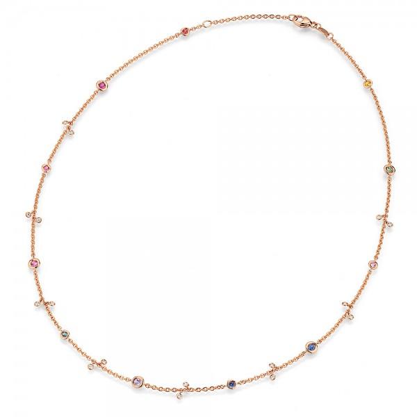 Meiller Color Collier Rosegold, Saphire, m. Brillanten 0,16ct