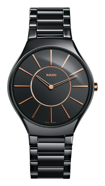 Rado True Thinline L Quarz schwarz/rose
