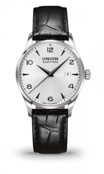 Union Glashütte Noramis Datum Silber 40mm Lederarmband Schwarz