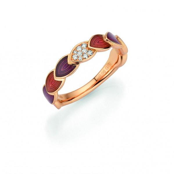 Rivoir Ring Rosegold lila, helllila, m. Brillanten 0,06ct