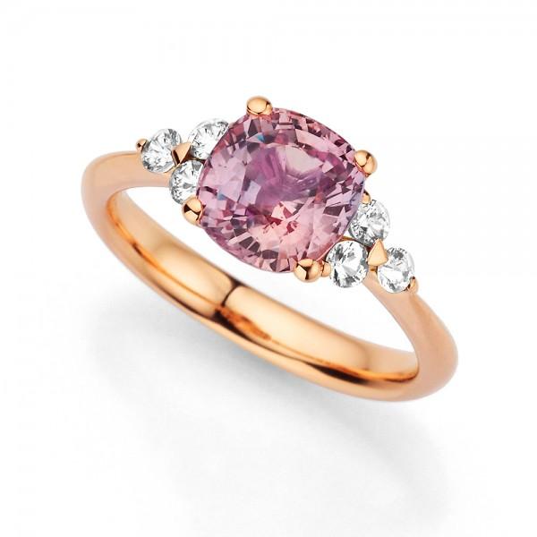 Meiller Color Ring Rosegold, m. Brillanten 0,30ct., Padparadscha 2,94ct.
