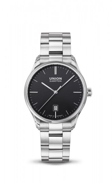 Union Glashütte Viro Datum 41mm Schwarz Metallband
