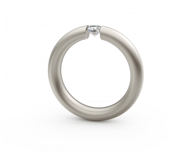 Niessing Oval Spannring Graugold, m. Brillant 0,19ct