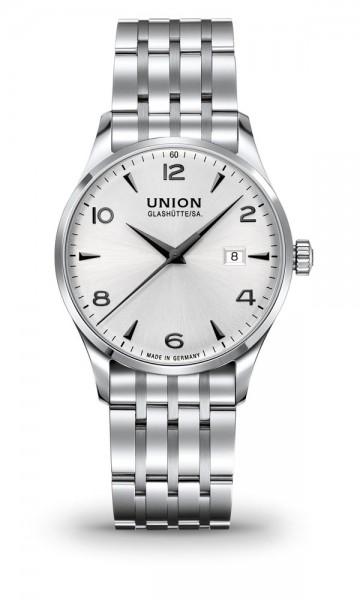 Union Glashütte Noramis Datum Silber 40mm weiß Metallband