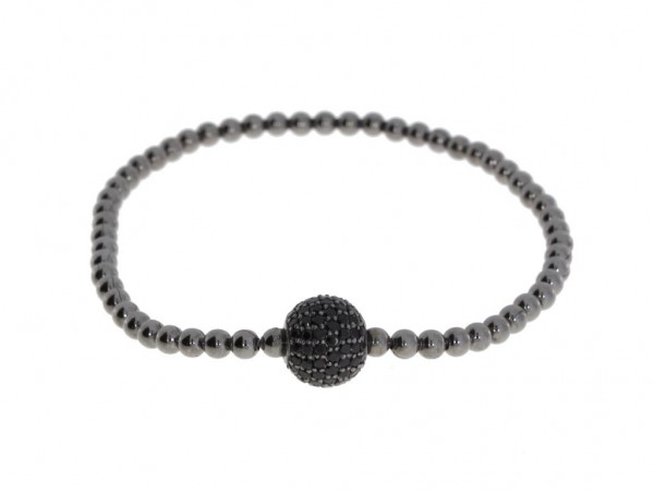Pearl Style Flex Armband Silber schwarz, Spinell