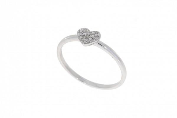 Crivelli Ring mit Herz Weißgold, m. Brillanten 0,08ct