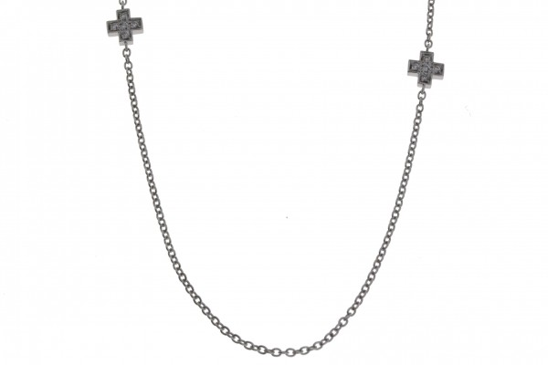 Crivelli Collier Kreuz Weißgold, m. Brillanten 0,55ct