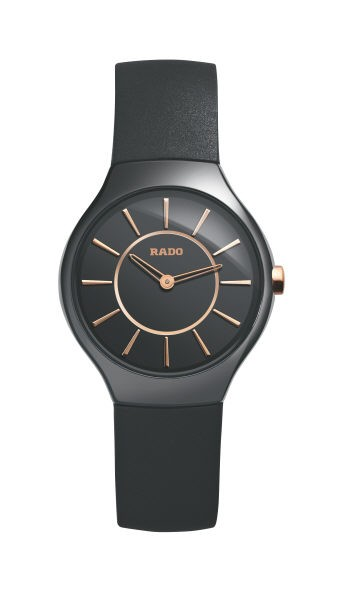 Rado True Thinline S schwarz/rosé