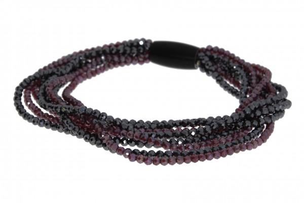 Pearl Style Big Bang Armband Stahl, Granat, Hämatit