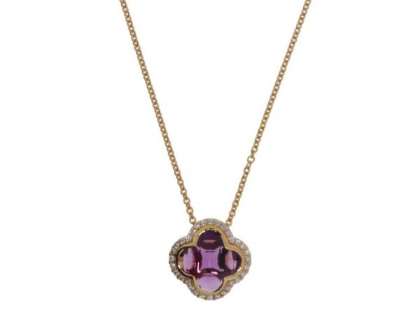 Crivelli Kette m. Anhänger Rosegold, m. Diamanten 0,22ct