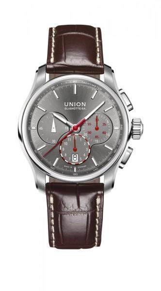 Union Glashütte Belisar Chronograph Leder Anthrazit/Rot