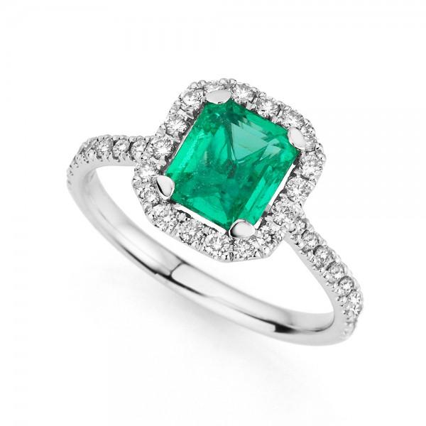 Meiller Color Ring Weißgold, m. Ethiopien Smaragd, Brillanten 0,48ct